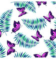 seamless pattern with palm leaves and butterflies vector image vector image