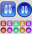 shoes icon sign A set of twelve vintage buttons vector image vector image