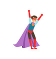 smiling boy character dressed as a super hero vector image