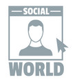 social world logo simple gray style vector image vector image