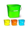 square plastic bucket bucketful different vector image