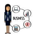 standing business woman with financial business vector image