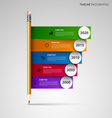 Time line info graphic with pencil and colored vector image vector image