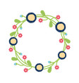 wreath with flowers and leaves vector image vector image