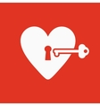 The heart and key icon Heart And Key symbol vector image