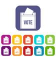 ballot box icons set flat vector image