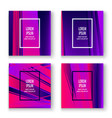 artistic cover set design neon blurred pink vector image vector image