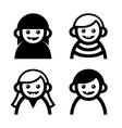 baand children faces icons set vector image