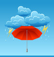 background with thunderstorm and umbrella vector image vector image