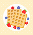 belgium waffles with berries vector image