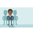 Black businessman standing straight with his vector image