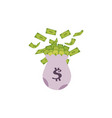 canvas money bag full of dollar banknotes vector image