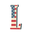 capital 3d letter l with american flag texture vector image vector image