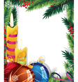 Christmas background with baubles and candles vector image vector image
