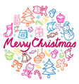 Christmas Outline Icons Set Color vector image