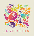 colorful floral motif in modern decorative style vector image vector image