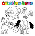 coloring book with farm cartoons vector image vector image