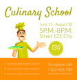 culinary school banner template cooking classes vector image vector image