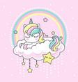cute kawai rainbow unicorn sleeping on a cloud vector image
