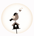 Cute Valentine Bird with a Birdhouse - retro brown vector image vector image