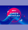 cyber monday sale poster design 3d flow shape vector image vector image