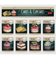 Dessert cakes cupcakes price cards vector image vector image