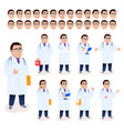 doctor man character set on white background vector image