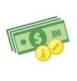 dollars banknotes and coins icon vector image vector image