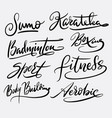 fitness and aerobic hand written typography vector image vector image