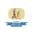 flat banner happy fathers day dad and son vector image vector image
