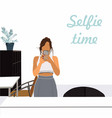 flat on young woman taking selfie vector image