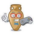 gamer amphora mascot cartoon style vector image vector image
