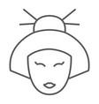 geisha thin line icon japan and girl japanese vector image