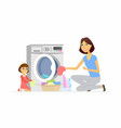 girl helps mother with washing - cartoon people vector image