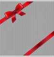 grey knitted background with red ribbon vector image vector image