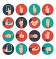 Hands icons set flat vector image vector image