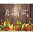 happy thanksgiving poster with autumn leaves vector image vector image