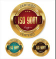 iso 9001 certified golden badge collection vector image vector image