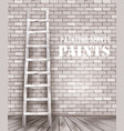 ladder against and old a white brick wall vector image
