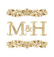 M and h vintage initials logo symbol letters