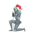 medieval kneeling knight chivalry warrior vector image vector image