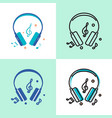 music headphones icon set in flat and line styles vector image