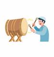 muslim boy hitting bedug in ramadan season vector image vector image