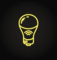 neon smart light bulb icon in line style vector image