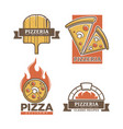 pizzeria pizza icons for italian restaurant vector image