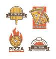 pizzeria pizza icons for italian restaurant vector image vector image
