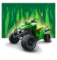 quad bike on forest background vector image