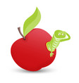 red apple with green leaves and cartoon worm vector image vector image