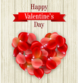 Romantic Valentine card with heart of rose petals vector image