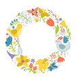 round frame made of spring flowers hen rooster vector image